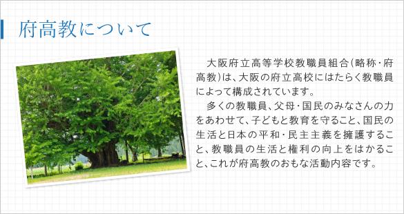大阪府立高等学校教職員組合(略称・府高教)は、大阪の府立高校にはたらく教職員によって構成されています。多くの教職員、父母・国民のみなさんの力をあわせて、子どもと教育を守ること、国民の生活と日本の平和・民主主義を擁護すること、教職員の生活と権利の向上をはかること、これが府高教のおもな活動内容です。